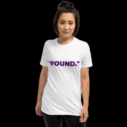 Asian Woman wearing 'FOUND' White T-Shirt