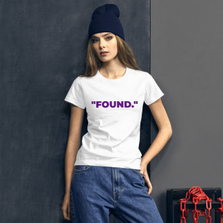 White woman wearing 'FOUND' Ladies White T-Shirt