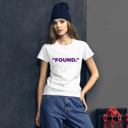 White woman wearing 'FOUND' Ladies White T-Shirt