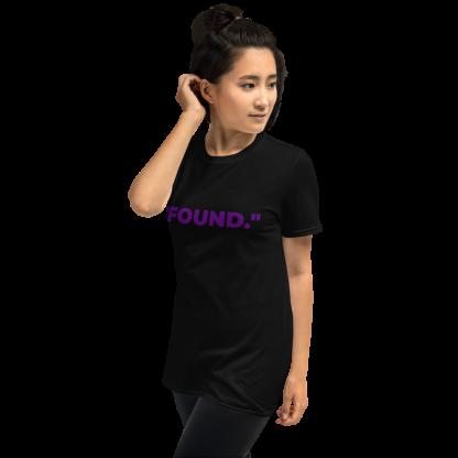 Asian Woman wearing 'FOUND' Black T-Shirt